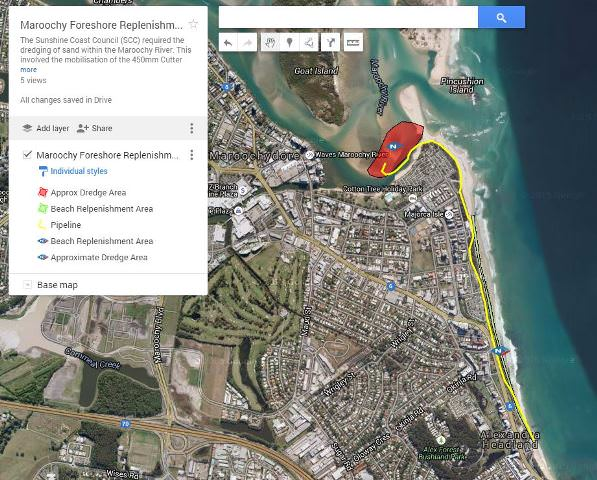 Maroochy Foreshore Replenishment Project 2015 - Google Map