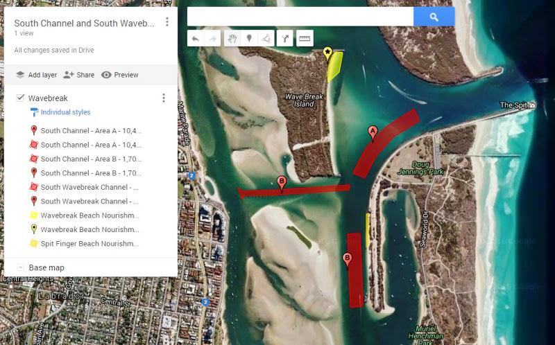 South Channel and South Wavebreak Island Channel Dredging - Google Maps Link